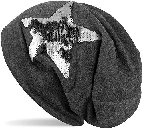 styleBREAKER Beanie Mütze mit Wendepailletten Stern Applikation, Slouch Longbeanie, Damen 04024141