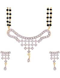Zeneme Women's Pride American Diamond Gold Plated Mangalsutra Pendant With Chain And Earrings For Women - B015SUMIYC