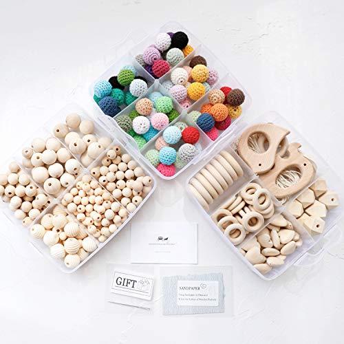 by Holz Beißring Tier Rassel Bio Häkeln Perlen DIY Halskette Kautabletten Baby Dusche Geschenk Kinderkrankheiten Spielzeug ()