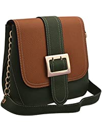 TAP FASHION Stylish Casual Fancy Elegant PU Leather Women's Handbag With Sling Belt (Green & Brown, WSB-4371-100...