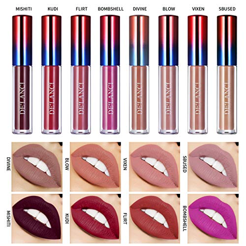Matt Nude Lipgloss Set,DE'LANCI Lippenstifte Liquid Matte Lipstick Dauerrhaft Lip Liner Make up 8 Stück