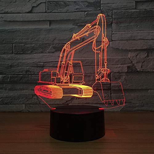 3D Licht Nachtlicht Bagger Form Tischleuchte 3 Aa Batterien Oder Usb-Kabel Powered Schöne Acryl Material Panel Abs Basis Für Tischdekoration Und Nacht Dekoration - Powered Bagger