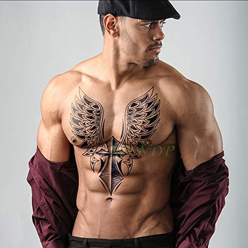 Tzxdbh impermeabile autoadesivo del tatuaggio temporaneo croce ala angelo intero posteriore tatuaggio grande tatto flash tatoo tatuaggi falsi per le donne uomini ragazza