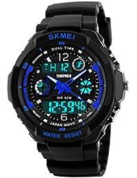Reloj doble / deportes al aire libre de los hombres / forma electrónica impermeable de la montaña / reloj multi-funcional del salto de la personalidad , large blue