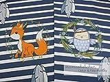 Mamasliebchen Jersey-Stoff Oskar & fiep #Smoky (ca. 0,6m / 1Panel) Fuchs Eule Panel