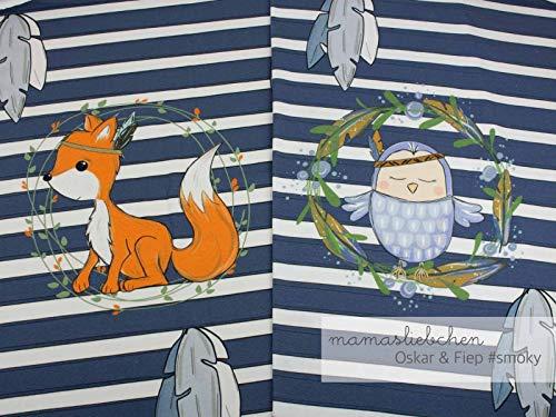Mamasliebchen Jersey-Stoff Oskar & fiep #Smoky (ca. 0,6m / 1Panel) Fuchs Eule Panel - Baumwolle Knitterfrei Kleid Shirt