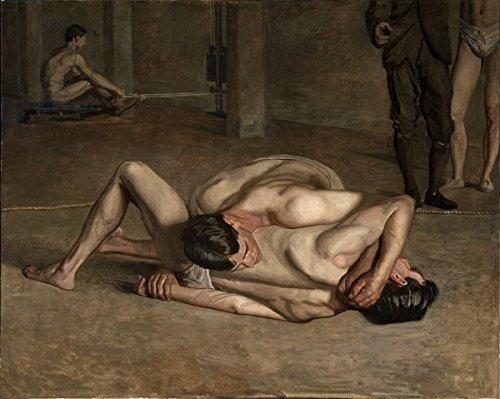 "Leinwand-Bild 100 x 80 cm: ""Wrestlers, 1899 (oil on canvas)"", Bild auf Leinwand"