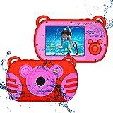 CamKing Kids Fotocamera Digitale Impermeabile,K6 HD 1080P 18 MP 2.7 Pollici Screen 8X Mini Cartoon Macchina Fotografica per Bambini (Rosso)