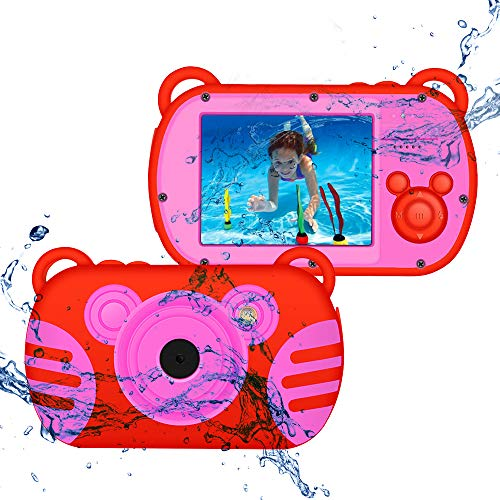 Camking kids fotocamera digitale impermeabile,k6 2.7 pollici screen mini cartoon  macchina fotografica per bambini (rosso)