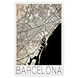 artboxONE Poster 30x20 cm Retro City Map Barcelona von Künstler David Springmeyer