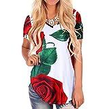 LeeY Damen Sommer Sexy Drucken T-Shirt Tops V-Ausschnitt Mode Beiläufig Kurzarm Bluse Oberteile Frauen Lose Rose Gedruckte Unterhemd Hemd Schick Trendige Trägershirts Shirts (Rot, S(Asian S=EU XS))
