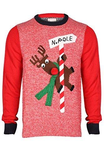Herren Weihnachts/Xmas Pullover von Seasons Greetings tanzende Rudolph - rot