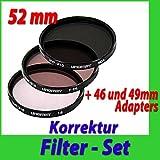 UVF310 Fotofilter Videofilter SET 3x Video-Korrektur-Filter, Sperrfilter, Graufilter, Skylightfilter für 46mm 49mm 52mm