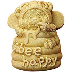Lingmoldshop Bee Happy Craft Art Silicone Soap mold DIY Candy mould Craft Molds Handmade Candle molds by Lingmoldshop