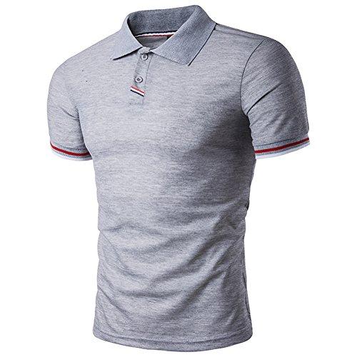 BicRad Herren Shirt Polo Kurzarmshirt Slim Polohemden Baumwolle, Grau Gestreift, Gr. S (Gestreiftes Grau Polo-shirt)