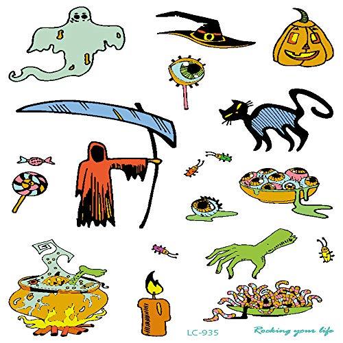 chte Halloween Requisiten Tattoo Aufkleber Urlaub Atmosphäre lustige Karneval Party Gesicht Aufkleber Tattoo 3Pcs-1 ()