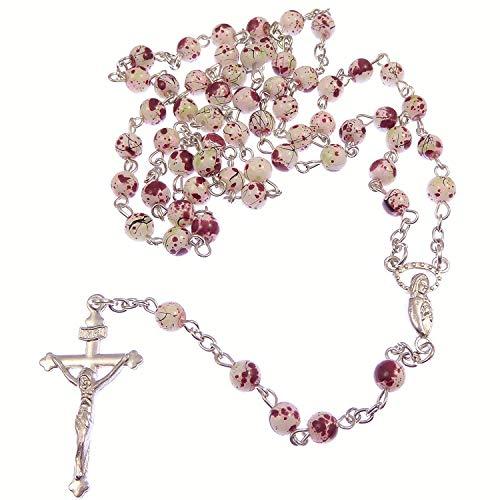 Weiß& Rot Marmor Rund Glas Rosenkranz auf Silber Kette 51cm Länge Halskette (Rot Glas-rosenkranz)