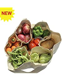 Organic Cotton Deluxe Reusable Grocery Shopping Bag With 6 Bottle Sleeves (Multi Pocket) (Heavy Duty, Washable...