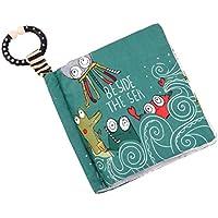 YeahiBaby Libro de Tela de Dibujo de Animal con Papel de Sonido no Tóxico Aprendizaje Temprano Juguetes Educativos para Bebé Niños (Pulpo Verde)