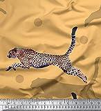 Soimoi Orange Seide Stoff dot & springen Leopard Tier Stoff