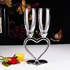 Idea Regalo - 1 Paio Di Bicchieri Per Champagne Creativo Bicchiere Da Vino Rosso Ad Alta Qualità Bicchiere a Calice Paio Di Bicchieri Con Forma Di Cuore Regalo Matrimonio