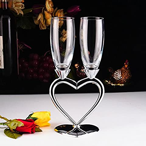 1 Set (2-teilig) Kreative Sektgläser Hochwertige Weingläser Gläser mit Fuß herzförmig Liebespaar Hochzeit 2er Set Gläser