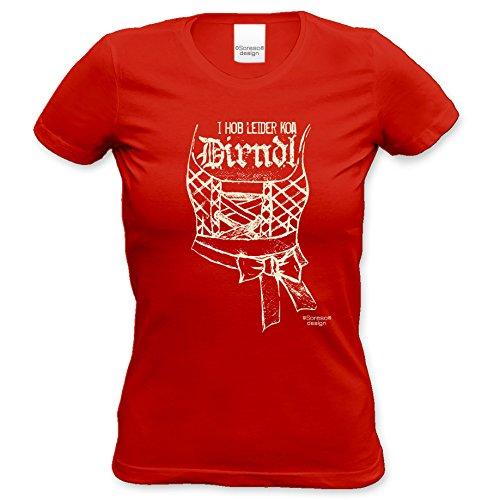 I hob leider koa Dirndl : Damen Mädchen Frauen T-Shirt - lustiges Sprüche Fun-Motiv Volksfest Oktoberfest Trachtenshirt Farbe: rot Gr: XXL