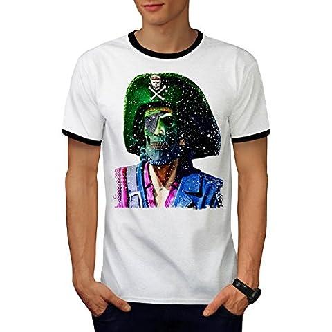Pirate Skull Metal Funny Men M Ringer T-shirt | Wellcoda