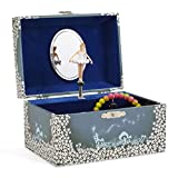 Jewelkeeper Girl's Musical Jewellery Storage Box with Twirling Fairy Blue and White Star Design, Swan Lake Tune