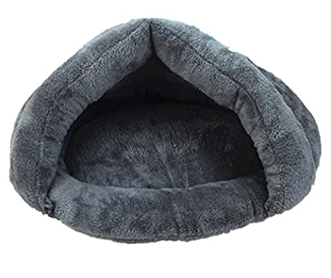 FSOSOO Cave Shape Dog Bed Home Water-resistant Extra thick Warm Cozy Removable and wash Pet Home , ash ,