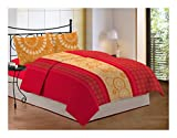 Bombay Dyeing 104 TC Cotton Double Bedsheet with 2 Pillow Covers - Floral, Red
