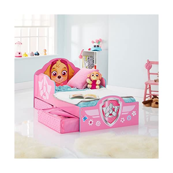 Hello Home Paw Patrol Skye Kids Toddler Bed with underbed Storage, Wood, Pink, 142x77x68 cm  Perfect for transitioning your little one from cot to first big bed The perfect size for toddlers, low to the ground with protective side guards to keep your little one safe and snug Two handy underbed, fabric storage drawers 7