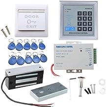 AGPtek Kit de Sistema de Control de Acceso de Puerta Entrada con 60kg Cerradura Magnética Electrónica 110-240V AC a 12V DC 3A 36W Teclado de 10 Botón Fobs EXIT Tarjeta Sistema de Seguridad para Casa