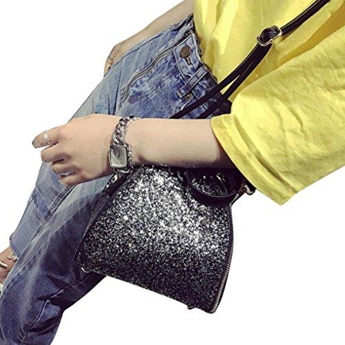 Della borsa della borsa Familizo Womens Tote Sparkling Paillettes frizione di modo del partito Nero