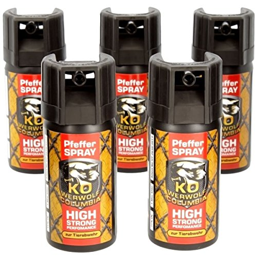 5-er Set Columbia Werwolf Pfefferspray 5 x 40ml (Pfefferspray Stärkste)