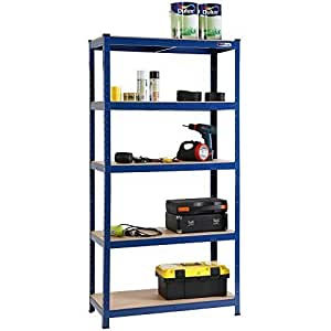 VonHaus 1.8m Heavy Duty Steel & MDF Boltless 5 Tier Racking Shelf Free 2 Year Warranty Industrial Steel Shelving Unit - Massive 875Kg Capacity