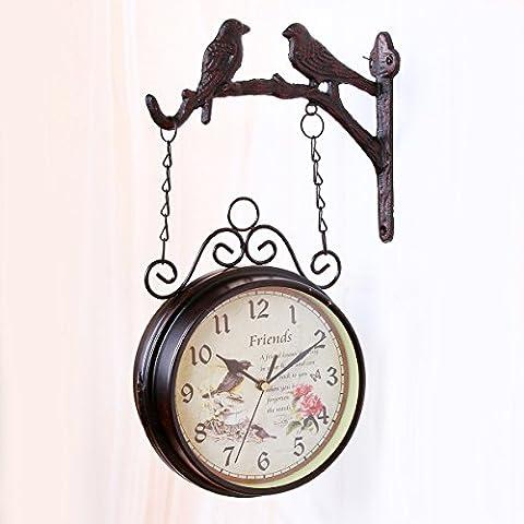 kinine Europeo retro ferro giardino orologio doppio ha parteggiato orologio
