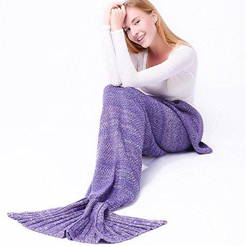 gearfan Cute Mermaid Snuggie Schwanz Decke Toddler Klimaanlage beendet für Kinder Erwachsene Wohnzimmer Strickwolle Schlafsack (71inch32inch) Japanisch Puprle (Maroon Waffel)