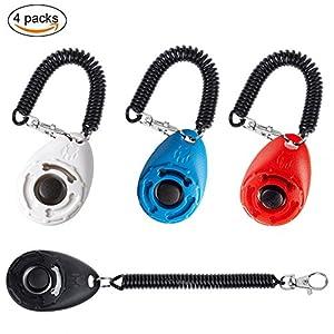 Joyoldelf 4pcs Clicker de dressage d'animaux, outil d'entraînement et laisse pour chien avec dragonne pour rappel et Obéissance d'entraînement