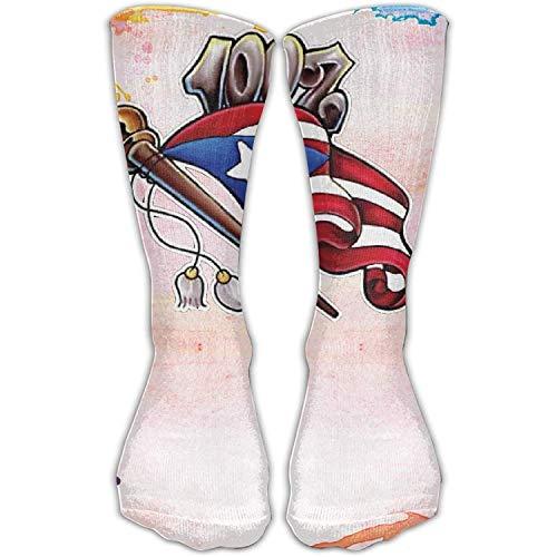 NNMAW Design Puerto Rico Flag Stylish Art Boots Sock for Women &Girl