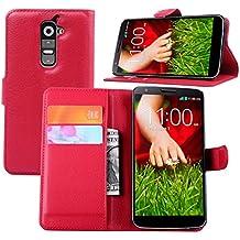 Guran® Funda de Cuero Para LG G2 (5.2 pulgada) Smartphone Tirón de la Cubierta de la Función de Ranura Tarjetas y Efectivo Caso