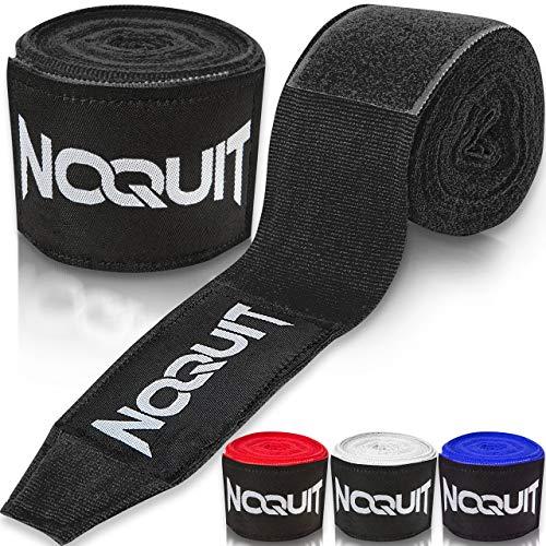 NOQUIT Premium Boxbandagen mit Daumenschlaufe - 4 m Bandagen für maximale Stabilität beim Boxen, Kickboxen & MMA in schwarz