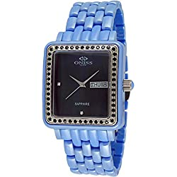 Oniss Women's Finesse Ceramic Blue Ceramic Case Swiss Quartz Black Dial Analog Watch on7700-L/BU/BK/BK