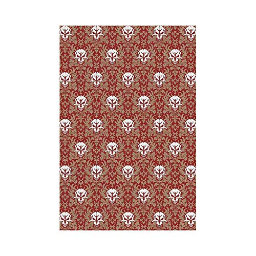 y Manual Custom Garden Flag Demonstration Flag Game Flag,Gothic,Baroque Pattern with Floral Curves Old Fashioned Antique Design Skull Motifs Decorative,Ruby Cocoa Whiteoo décor ()