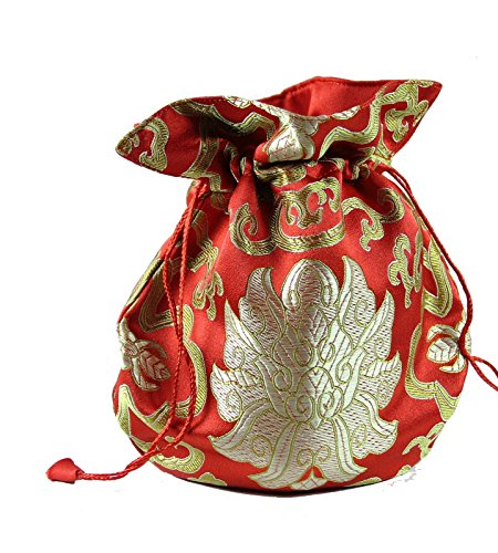 Roter Brokat Beutel mit goldenem Lotus von FindSomethingDifferent (Brokat Tasche Rot)