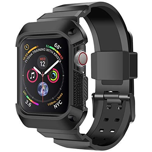 YOUKEX kompatibles Apple Watch-Armband 40 mm 38 mm mit Etui, robuster Schutzetui mit Sport-Trageschlaufe Ersatz für iWatch Series 4/3/2/1 Männer Frauen (Schwarz) -