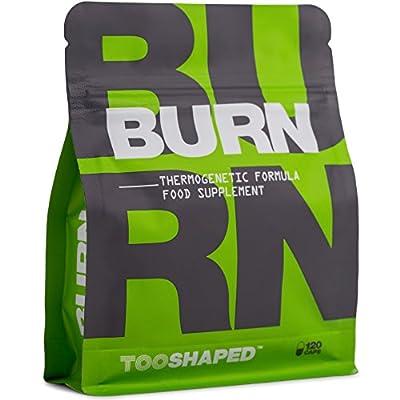 BURN – Brûleur de graisse avec L-carnitine, cétones de framboise, thé vert & Co (doses élevées). Aide les sportifs à brûler les graisses (séchage) - 120 gélules de TOOSHAPED