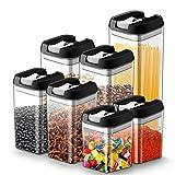 Latas de almacenamiento de alimentos Juego de 7 piezas, JOLVVN Contenedor de almacenamiento con tapa hermética, Latas de sin BPA, mantener los alimentos frescos