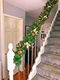 Pre Lit 2.7m Gold Stairs Fireplace Christmas Garland 9ft Swag 40 Warm White Lights