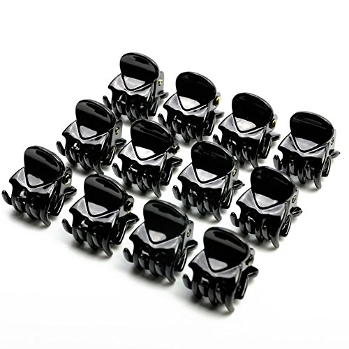 periwinkLuQ Mini-Haarspangen für Mädchen und Frauen, Schwarz, 12 Stück Multi